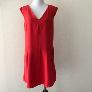 NEW Zara v neck drop waist shift dress pockets red